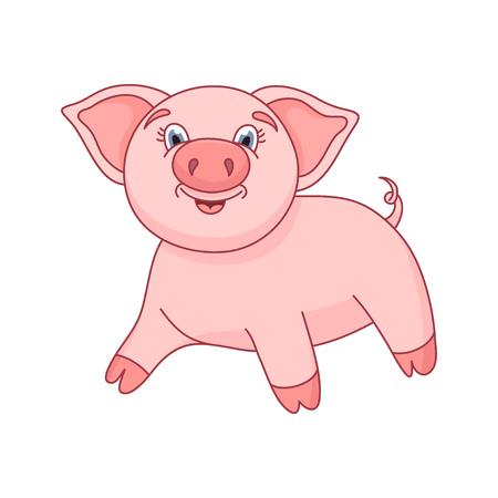 cerdo caricatura: ilustración de cerdo lindo, guarro divertido de pie y sonriente Vectores