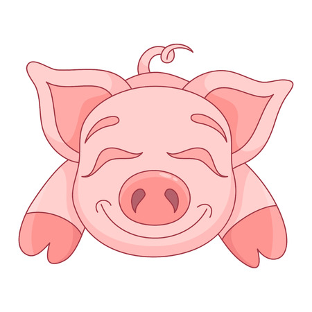 baby animals: illustration of cute pig, funny piggy lies and smiling