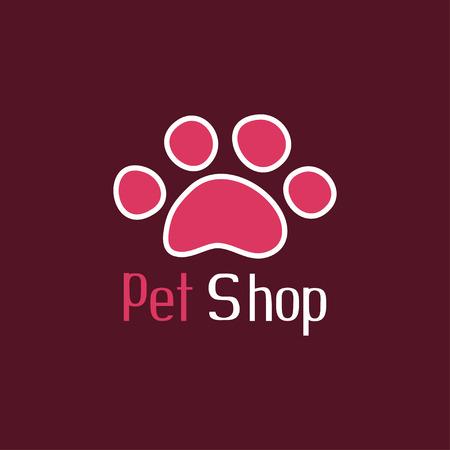 tienda de animales: Pet shop logo with pet paw Vectores
