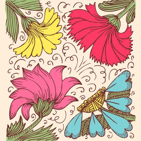 calendula: Vintage background with amazing flowers like calendula, godetia, camomile, aster in retro style, hand drawn vector illustration Illustration