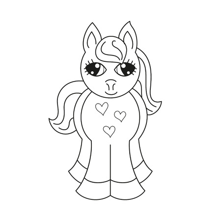 pony tail: Vector illustration of cute horse fullface, pony with a magnificent mane and tail, coloring book page for children