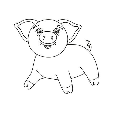 coloring book page: Vector illustration of cute pig, funny piggy, coloring book page for children Illustration
