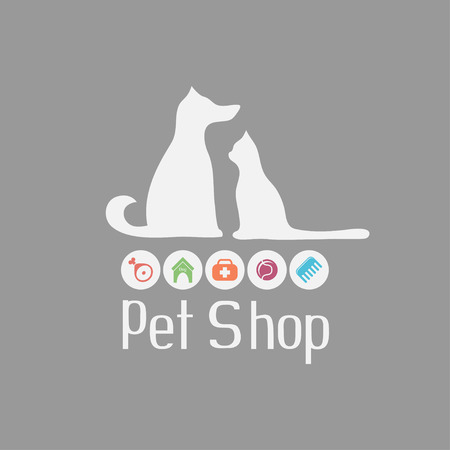 Cat and dog sign for pet shop logo and what they needs for pet salon or store icons, vector illustration