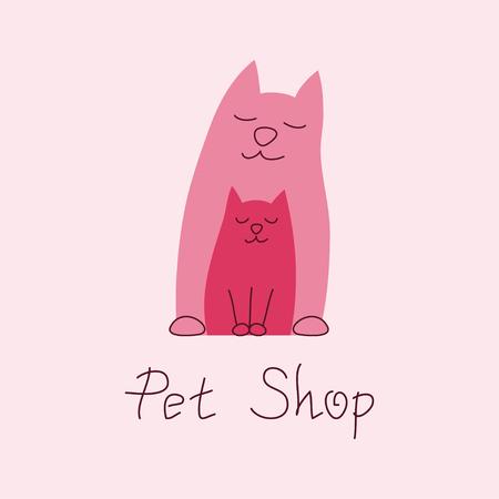 shop tender: Cat mother and kitten tender embrace, cat family and best friends, sign for pet shop logo, vector illustration