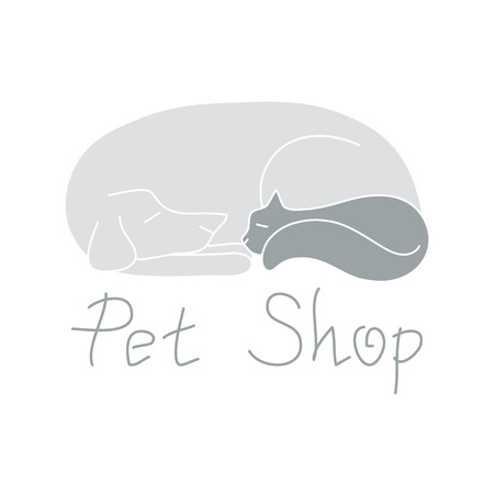 shop for animals: Cat and dog are best friends, cute animals are sleeping, sign for pet shop logo, vector illustration