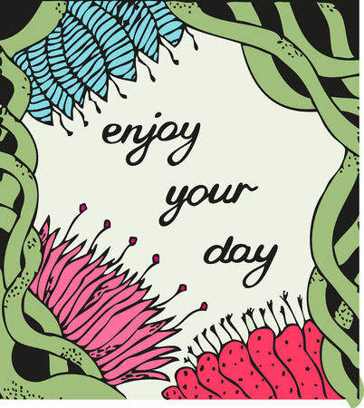 celtic background: Enjoy your day. Vintage background with ancient flowers like magnolia, aster, daisy, peony and celtic ornament in tattoo style, hand drawn vector illustration