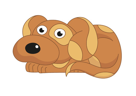 doggy: Cartoon puppy, vector illustration of cute dog surprising, amusing funny doggy