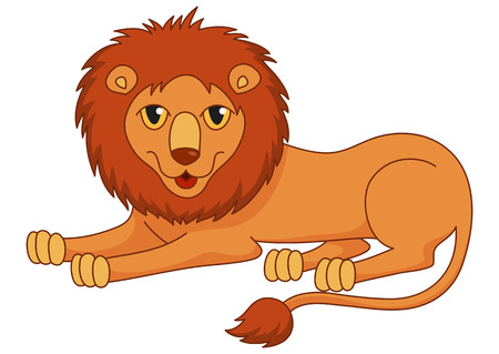 undomesticated: Amusing cartoon lion regally lying with fluffy mane and kind muzzle.