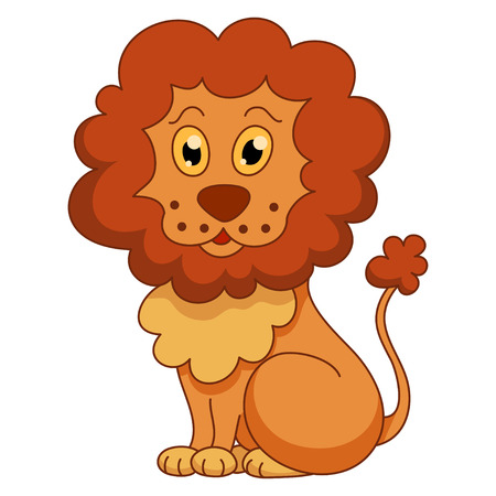 drawing large: Curly cartoon lion with fluffy mane and kind muzzle.  Illustration