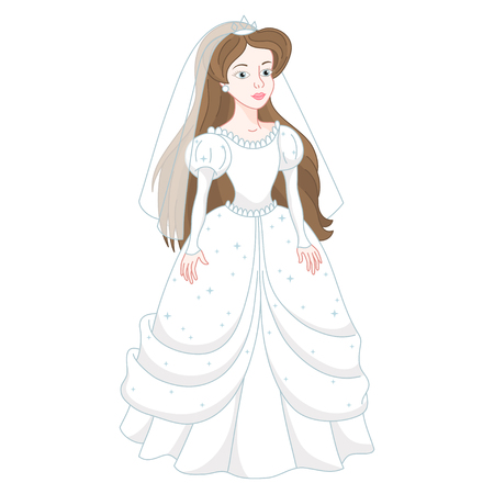 exhilaration: Illustration of beautiful brunette bride, gentle princess in white wedding dress with spangles, vector illustration