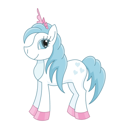 is magnificent: Vector illustration of cute horse princess, royal pony with a magnificent mane and tail, fairy foal