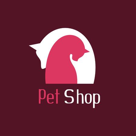 tender: Cat and dog tender embrace, best friends, sign for pet shop logo