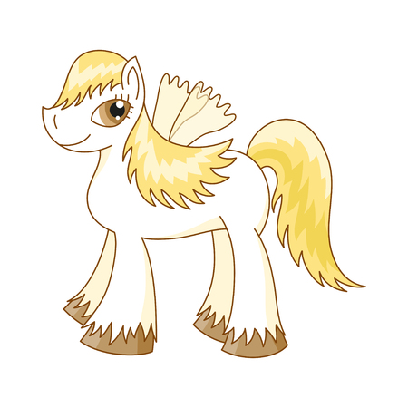 pony tail: Vector illustration of cute horse, royal pony with a magnificent mane and tail, fairy foal with wings Illustration
