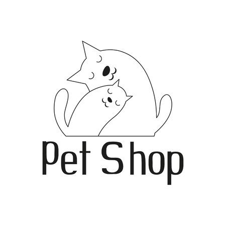 shop tender: Cat and dog tender embrace, best friends, sign for pet shop logo, vector illustration Illustration