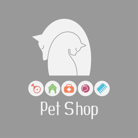 pet services: Cat and dog tender embrace, best friends, sign for pet shop logo and what they needs for pet salon or store icons, vector illustration