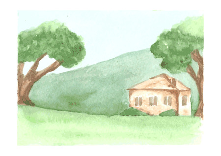 old home: Beautiful watercolor landscape with country house on green plain and hill, trees around old home, drawn by watercolour, vector illustration Illustration