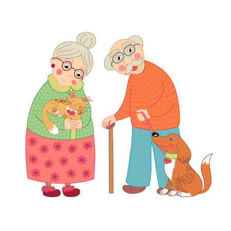 happy family smiling: Cute darling grandmother and grandfather, granny with cat and grandpa with dog on leash, vector illustration