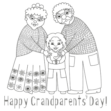 happy mature couple: Happy grandparents day card. Poster with cute darling grandmother, grandfather and their grandson, granny and grandpa, vector illustration, coloring book page for children