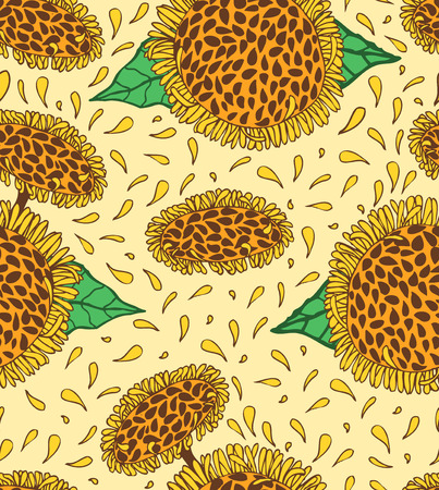garden flower: Sunflowers seamless pattern, doodling hand drawn sunny flowers with seeds and petals grow on stalks background, petals fly, vector illustration