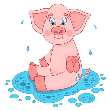puddle: Cute pig in a puddle, funny piggy sits and smile on water puddle, vector illustration Illustration