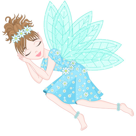 pixy: Cute fairy in bright cyan dress decorated of flowers with transparent wings is sleeping, vector illustration, eps 10