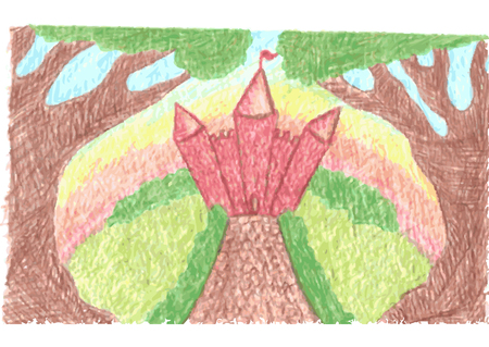 sketch child: Romantic landscape with fantasy magic castle, fairy tale castle and paved road, trees incline, sunrise or sunset drawn by color pencils, vector illustration Illustration