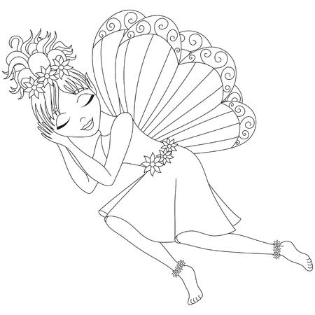 Hadas Linda En Alineada Con Las Alas Está Durmiendo, Ilustración ...
