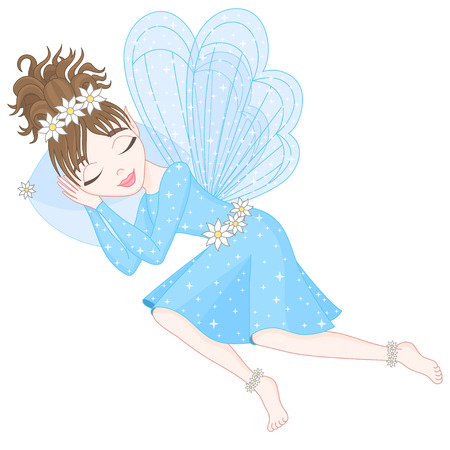 pixy: Cute fairy in blue dress with transparent wings is sleeping on pillow. Illustration