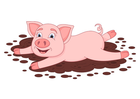 Vector illustration of cute pig in a puddle.