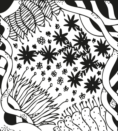 aster: Abstract background with doodling hand drawn patterns. Curls, celtic ornament, ancient flower like magnolia, clematis, aster, daisy, peony, vector illustration Illustration
