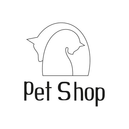 tender: Cat and dog tender embrace, best friends, sign for pet shop logo, vector illustration Illustration