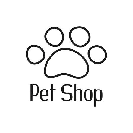 Dierenwinkelembleem met huisdierenpoot, teken voor dierenwinkel, vectorillustratie