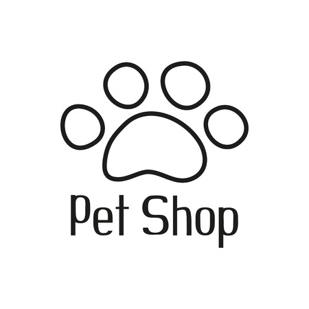 Pet shop logo with pet paw, sign for pet store, vector illustration