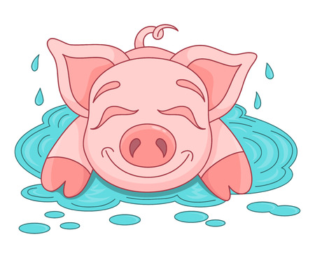 puddle: Vector illustration of cute pig in a puddle, funny piggy lies and smiling on water puddle