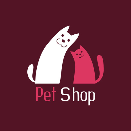 Cat and dog are best friends, sign for pet shop logo, vector illustration