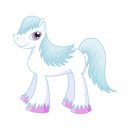 pony tail: Vector illustration of cute horse, romantic pony with a blue magnificent mane and tail