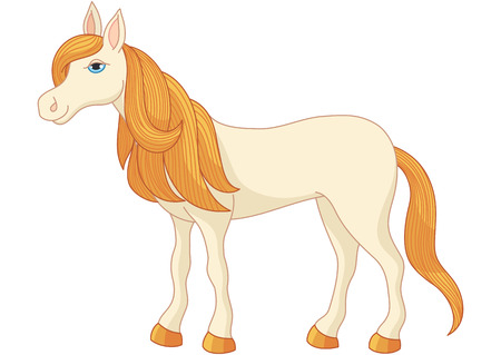 obedient: Charming cartoon horse with long golden mane and tail, vector illustration of quiet, gentle and obedient mare Illustration