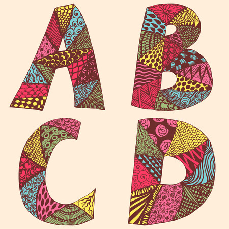 handicraft: Vintage monograms collection with letters A, B, C and D. Doodle colorful alphabet characters with patterns set or coloring book page. Bright ABC, vector illustration Illustration