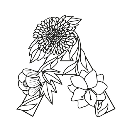 aster: Cute flower letter A. Floral monogram A with vintage flowers beginning with letter A and bindweed stalks. Cartoon drop cap with aster, abutilon, amaryllis, coloring book page for children