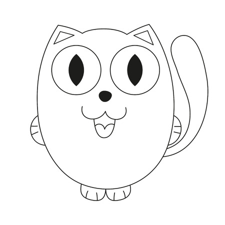 fatty: Cute cartoon kitty, vector illustration of funny fatty cat, coloring book page for children