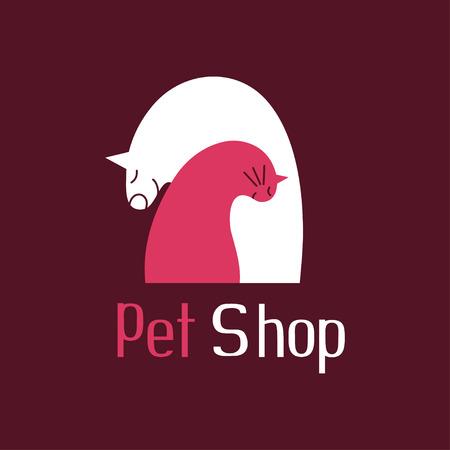 best friends: Cat and dog tender embrace, best friends, sign for pet shop logo, vector illustration Illustration