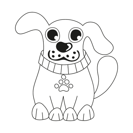 doggy: Cartoon puppy, vector illustration of cute dog wearing collar with pet paw tag, happy doggy, coloring book page for children Illustration