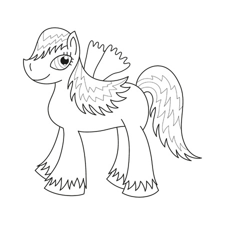 pony tail: Vector illustration of cute horse, royal pony with a magnificent mane and tail, fairy foal with wings, coloring book page for children Illustration