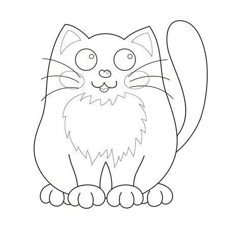 loving: Cartoon smiling gentle kitty sit, vector illustration of cute loving cat, lonely kitten, coloring book page for children Illustration