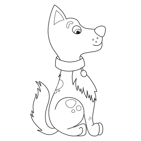 modest: Cartoon smiling puppy, vector illustration of cute funny modest dog sits in profile, side view, coloring book page for children