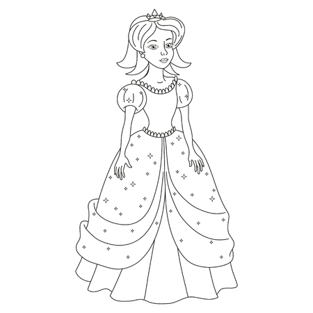 snow white: Beautiful princess, naughty princess in dress with spangles, girl like Snow White, vector illustration, coloring book page for children