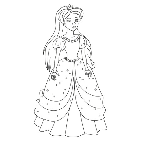 spangles: Beautiful princess, gentle princess in dress with spangles, vector illustration, coloring book page for children Illustration