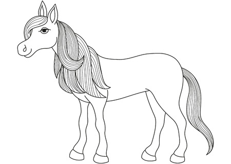 mare: Charming cartoon horse with long golden mane and tail, vector illustration of quiet, gentle and obedient mare, coloring book page for children