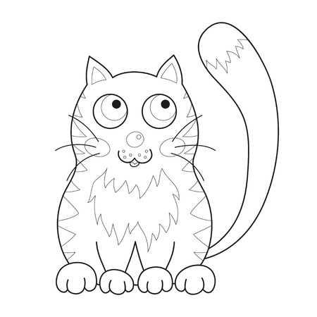 loving: Cartoon smiling gentle kitty with stripes sit, vector illustration of cute loving cat, lonely kitten, coloring book page for children