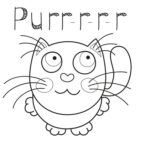 purring: Cartoon smiling kitty, vector illustration of cute purring cat sitting and looking to camera, caressing missed lonely kitten, coloring book page for children